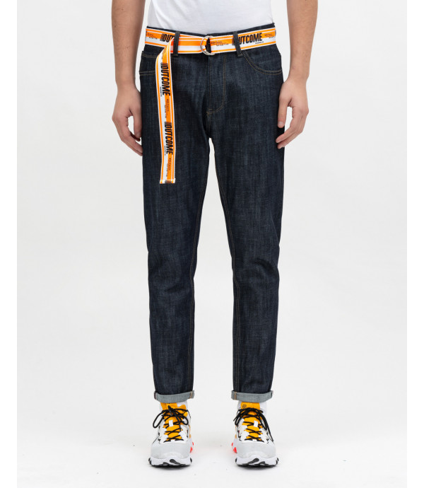Rinse wash jeans carrot fit with belt