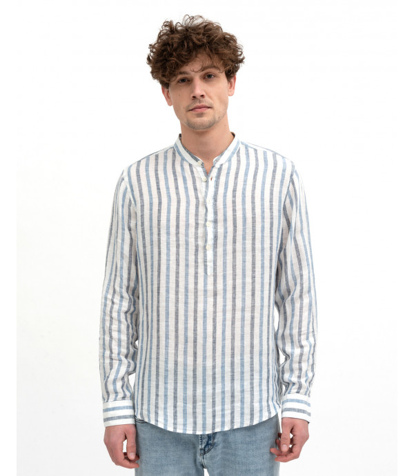 Mandarin collar striped shirt