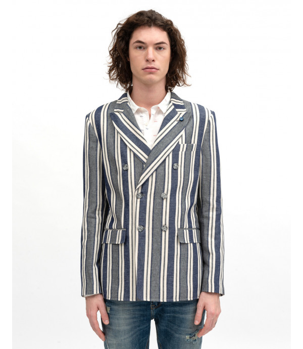 Double-breasted striped blazer