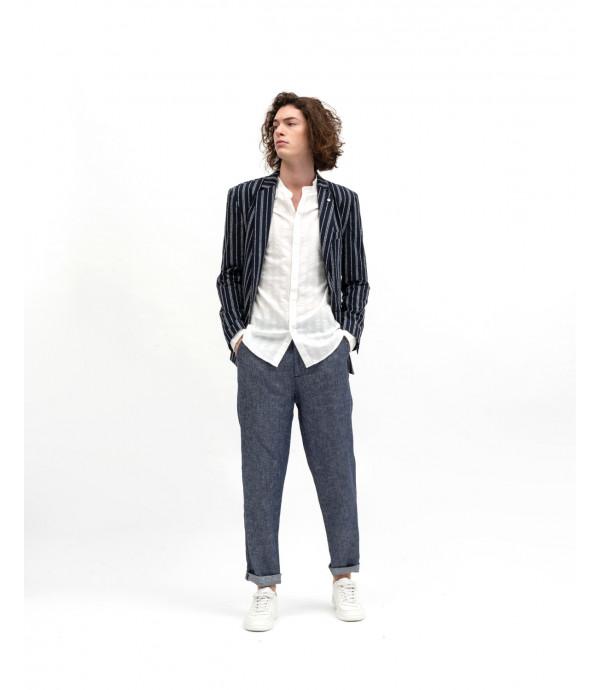 Denim effect trousers