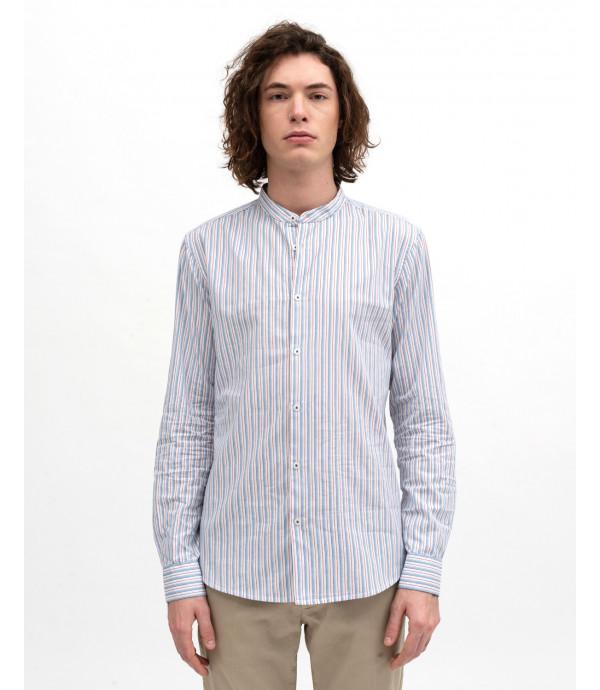 Mandarin collar striped shirt