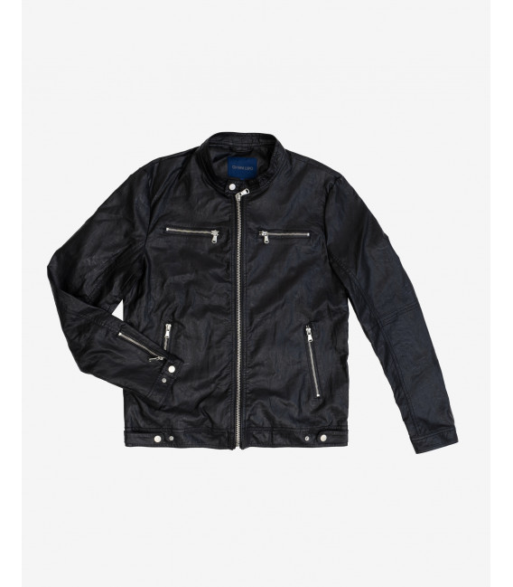 Faux-leather biker