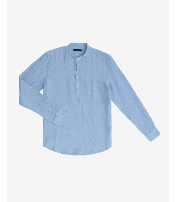 Mandarin collar linen shirt