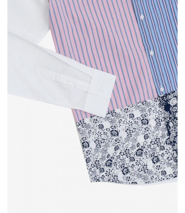 Mandarin collar print-block shirt