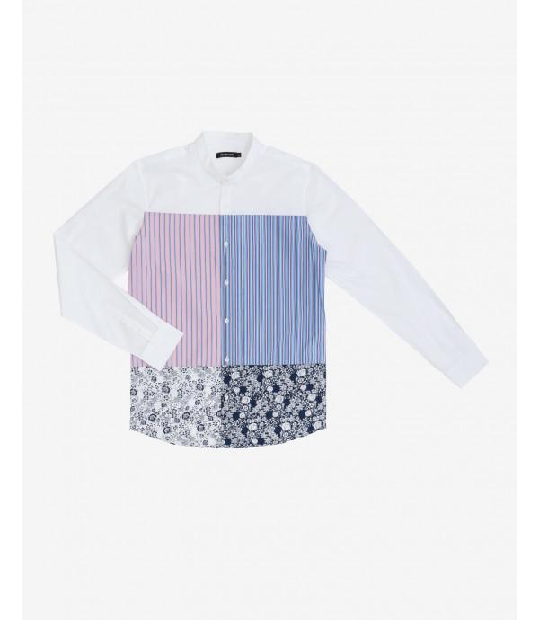 Camicia collo coreana print-block
