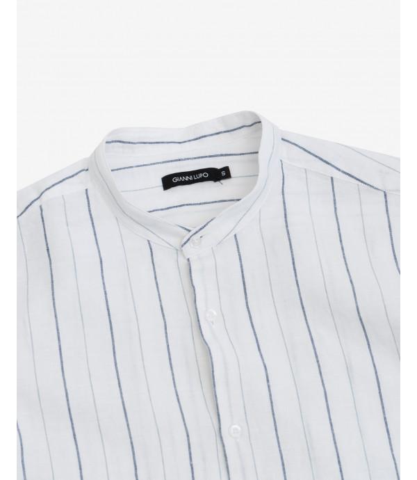 Mandarin collar striped linen shirt