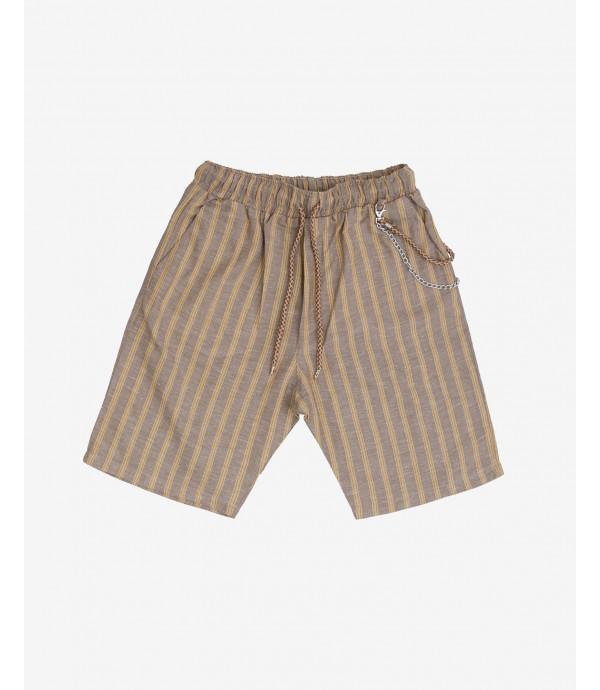 Striped linen shorts