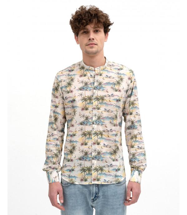 Tropical print mandarin collar shirt