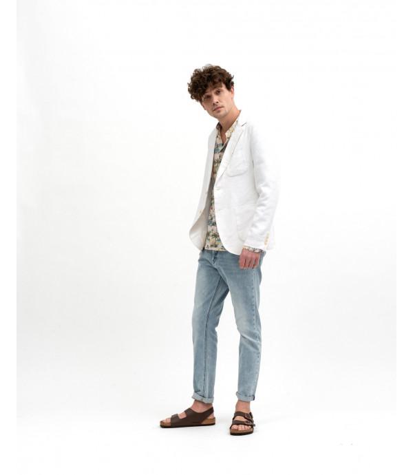 Camicia collo alla coreana stampa tropicale