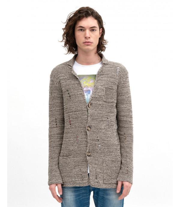 Melange knitted cardigan