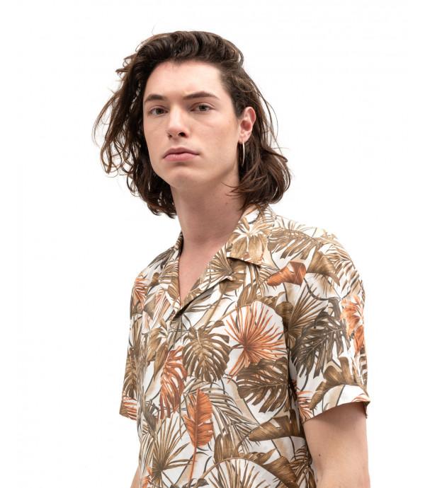 Tropical print short-sleeve shirt