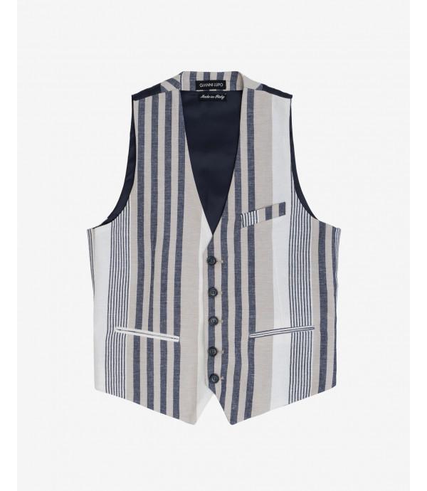 Striped linen waistcoat