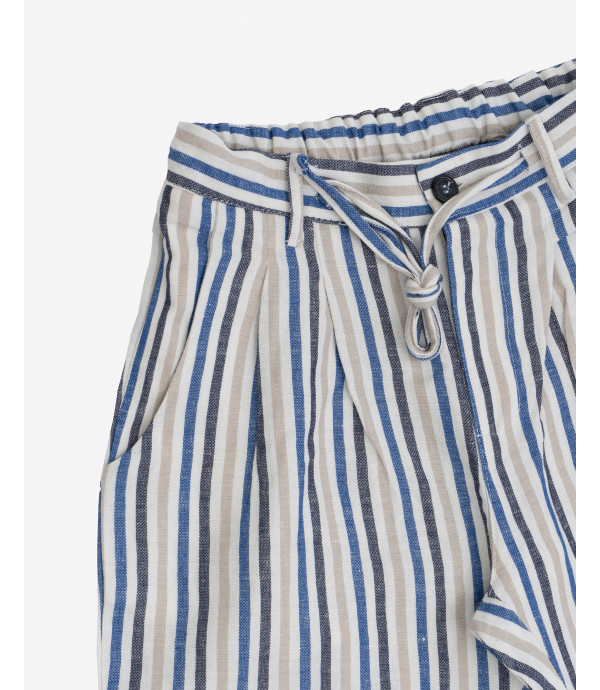 Striped shorts with drawstrings