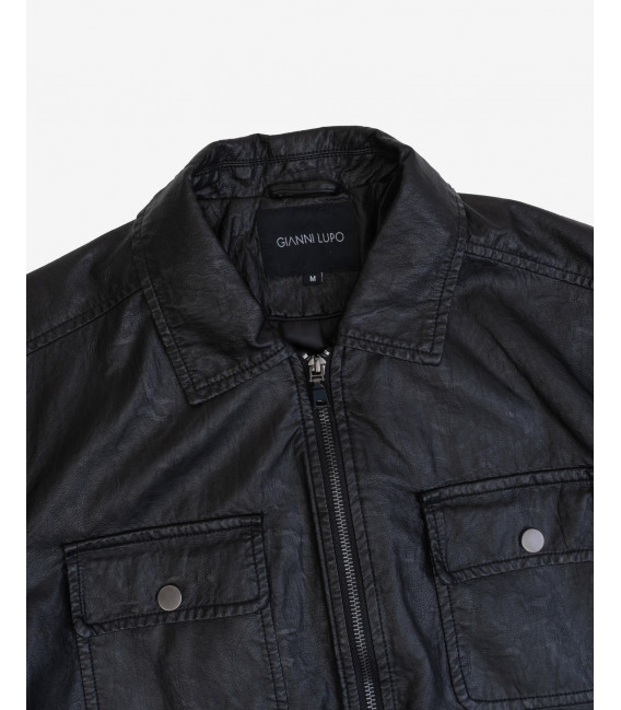 Faux-leather jacket with pockets