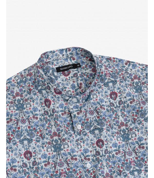 Mandarin collar floral print shirt