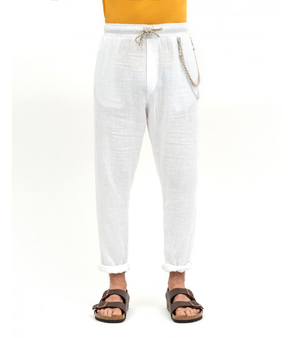 Linen trousers with chain