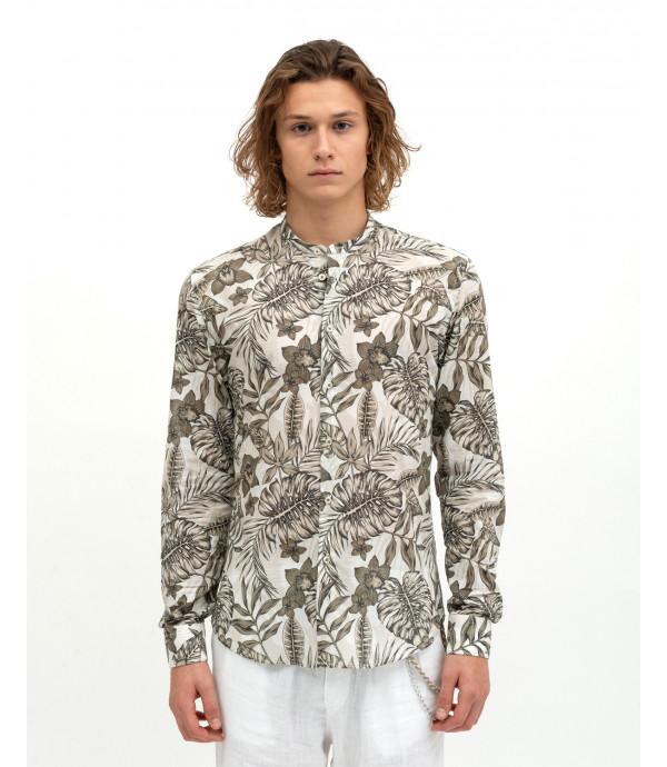 Mandarin collar printed shirt