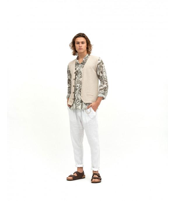 Camicia stampa tropicale collo coreana