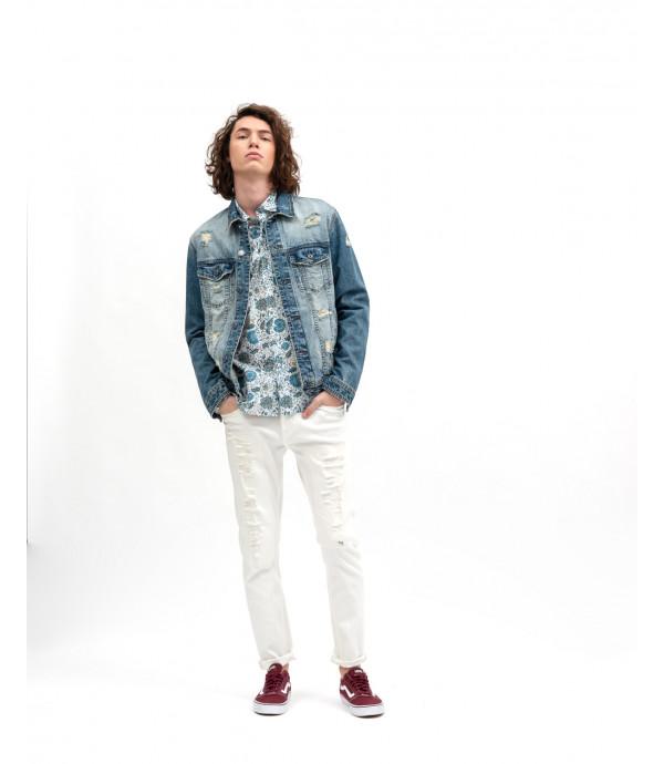 Jeans strappati con cintura