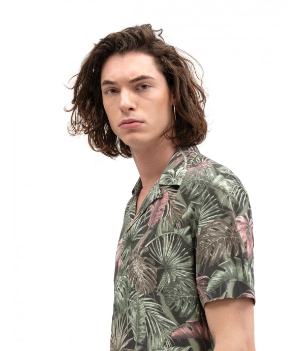 Tropical print short-sleeve shirt