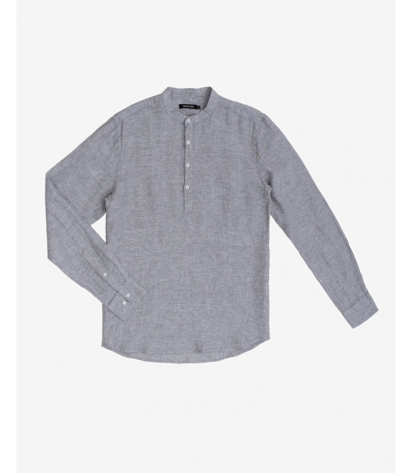 Grey overhead shirt in linen