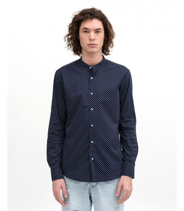 Mandarin collar dotted shirt