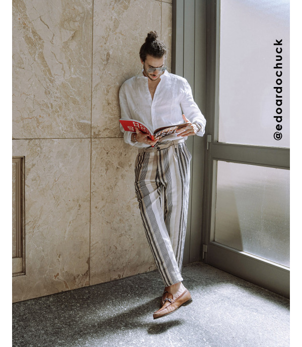 More about Striped drawstring trousers in linen mix