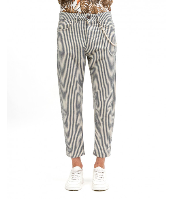 Chevron stripes cotton trousers