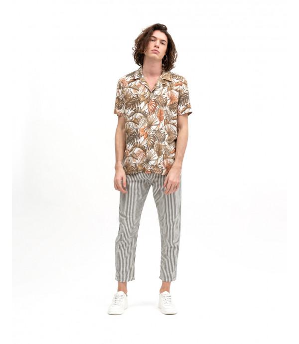 Pantaloni in cotone a righe chevron