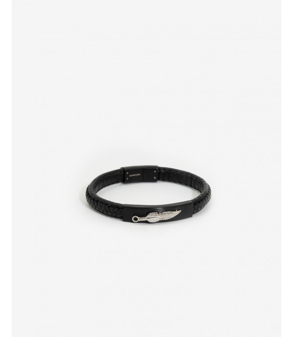 More about Leather and metal bracelet with feather