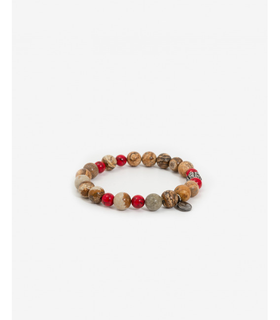 Bracelet with red and sand beads
