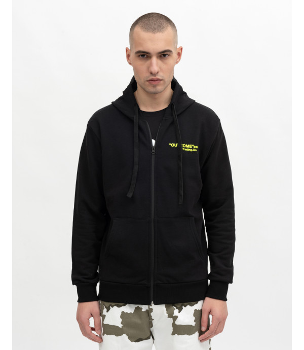 Zipped hoodie with print