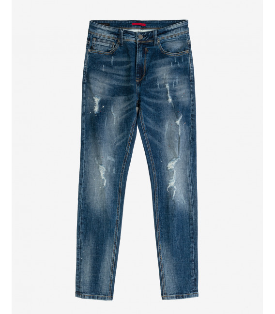 Bruce regular fit medium wash with rips