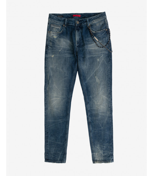 Jeans Bruce regular fit sand blasted con accessorio