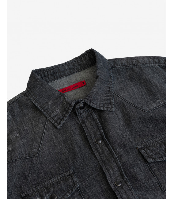Camicia black denim con bottoni automatici