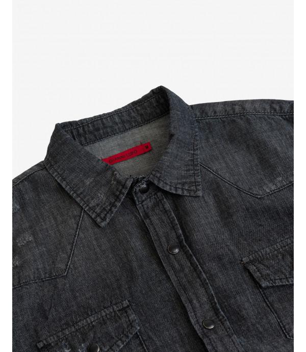 Black denim shirt with snaps