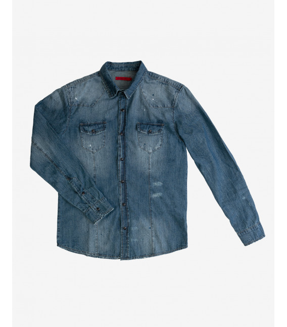 Medium wash denim shirt with snaps