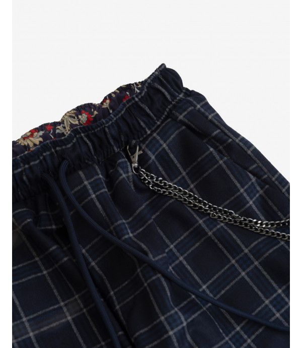 Checked drawstring tousers with chain