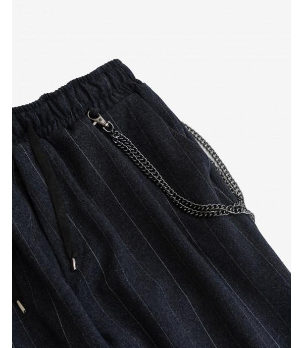 Pantaloni con laccio gessati con accessorio