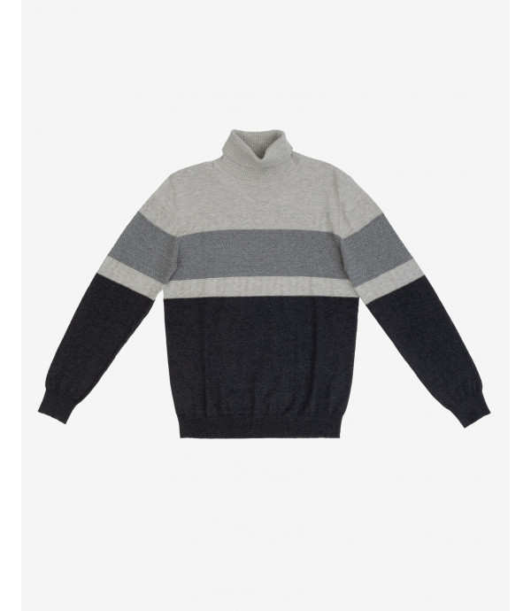 Colour block turtleneck jumper
