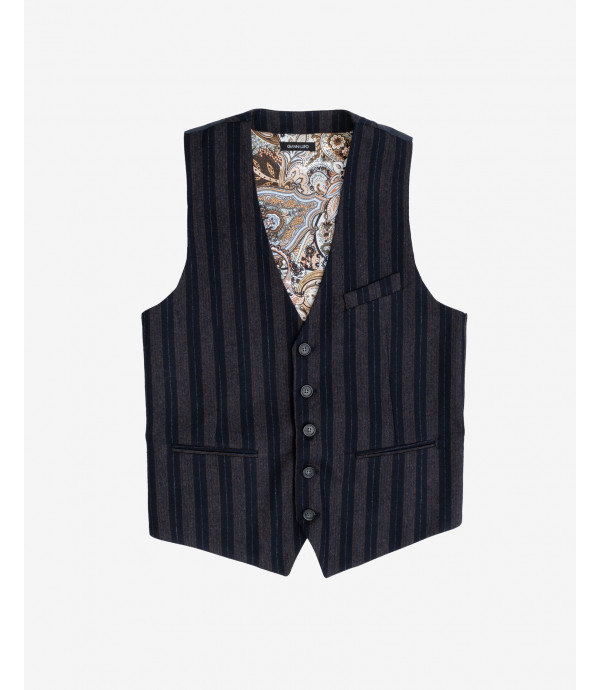 Striped wool mix waistcoat