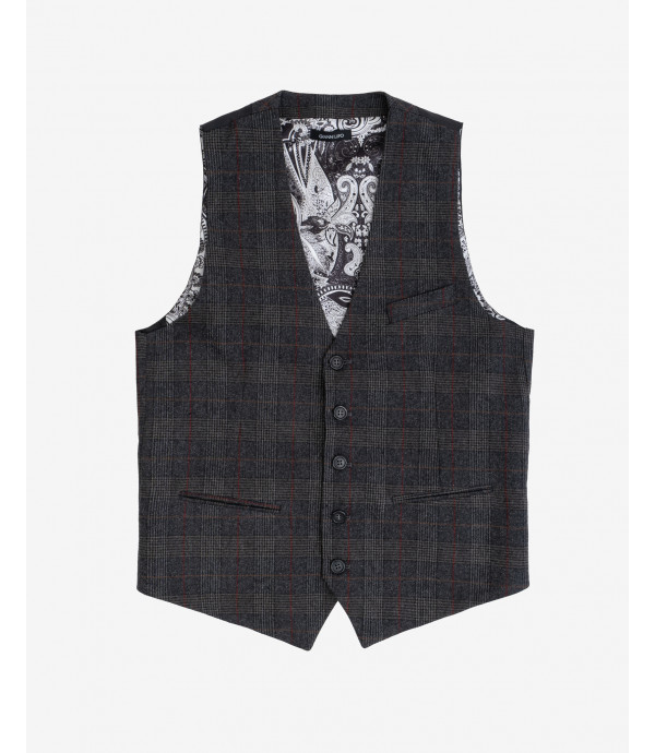 Wool mix prince of Wales waistcoat