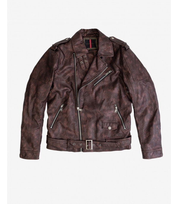 Faux-leather jacket with metallic finish