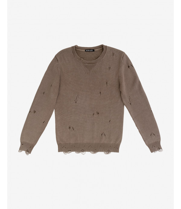 Distressed roundneck jumper