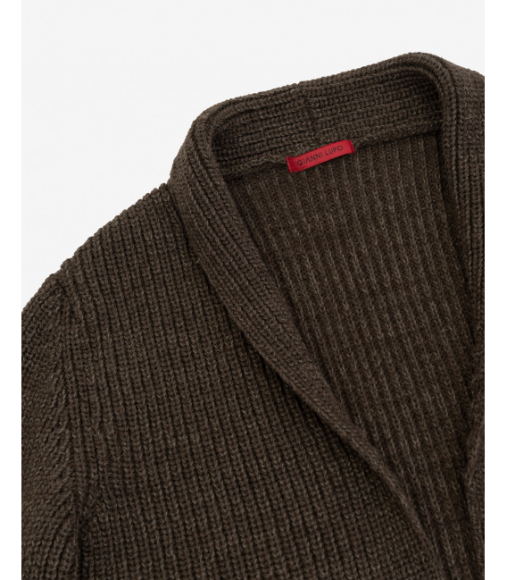 Longline ribbed cardigan