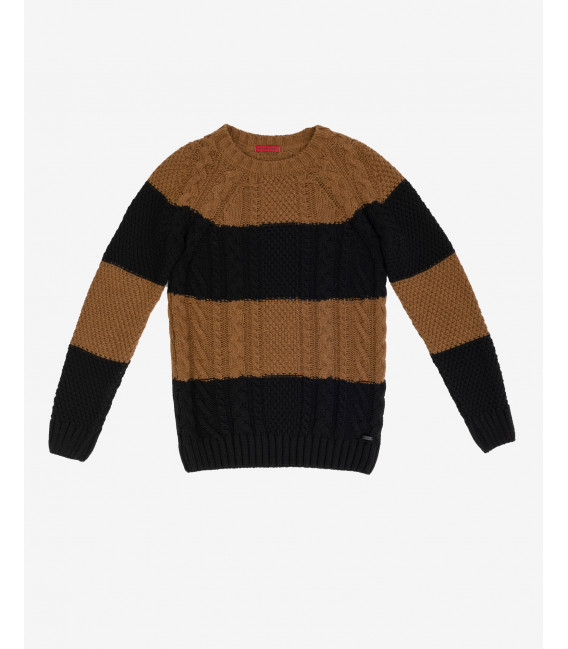 Cable knit jumper with stripes