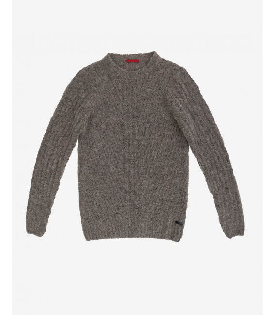 Dropped ribbing boucle jumper
