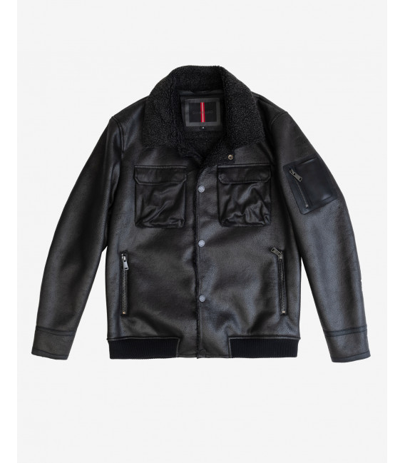 Faux-leather jacket with shearling padding