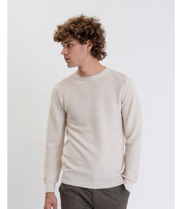 Maglia misto lana con lavorazione geometrica