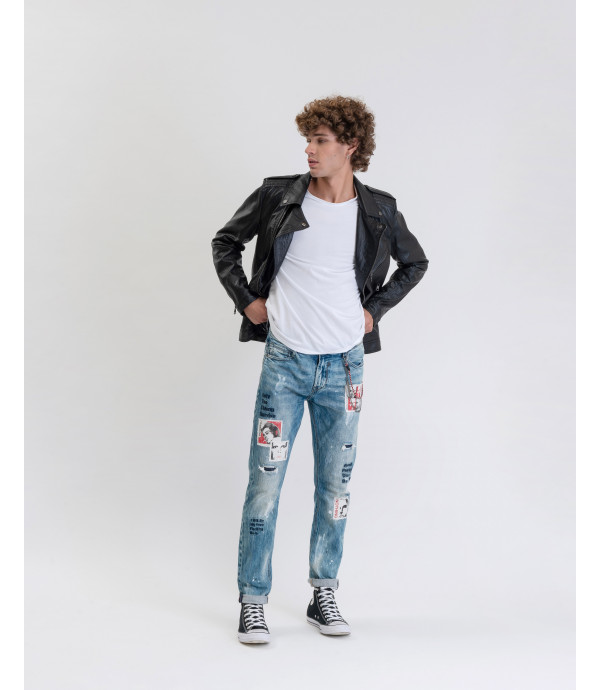 Jeans Bruce regular fit con stampe e patchwork